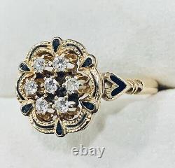 0.20 Ct 14k Yellow Gold Diamond & Black Enamel Flower Ring Band Size 7