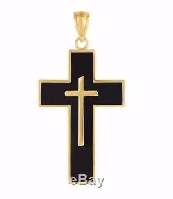 1 3/8 Onyx Black Enamel Crucifix Cross Pendant Charm Real 14K Yellow Gold