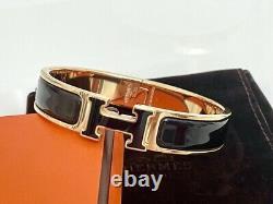 100% Authentic Rare Hermes Clic Clac Rose Gold Black Enamel H Bracelet Bangle PM