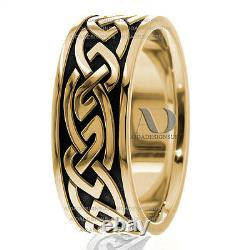 10K Gold & Black Enamel 9mm wide in Two Tone Celtic design Wedding Ring