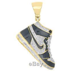 10K Yellow Gold Diamond Black Enamel Air Jordan Shoe Pendant 1.75 Charm 0.60 CT