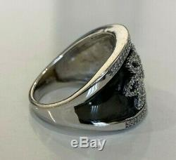 10ct solid gold with Black Enamel & Diamond band ring 8.40g size P 7 1/2