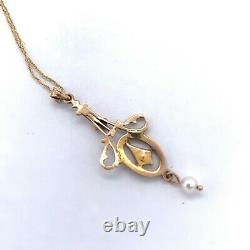 10k Yellow Gold Seed Pearls and Black Enamel Lavaliere Pendant (#J4956)