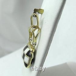 14K Gold 3D Black & White Checkerboard Enamel Purse Charm Pendant 2.9gr
