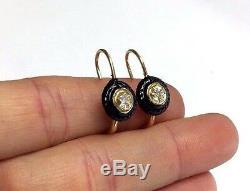 14K Gold. 50 CTW H SI1 Mine Cut Diamond Black Enamel Victorian Style Earrings