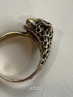 14K Gold Black Enamel Panther Leopard Green Emerald Eyes Ring Size 6 Signed JED