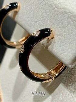 14K Rose Gold Diamond and Black Enamel Huggie Hoop Earrings Retails $1075