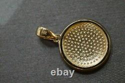 14K Solid Yellow Gold 0.85 Round White and Black Enamel Yin Yang Charm Pendant