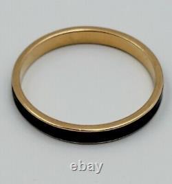14K Solid Yellow Gold Black Enamel 2.5mm Wedding Band Stacking Ring 1.6g Size 7