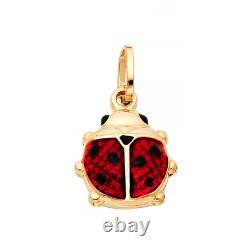 14K Solid Yellow Gold Enamel Ladybug Pendant -Red Black Necklace Charm Women Men
