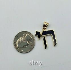 14K Solid Yellow Gold Jewish Chai For Pendant Black Enamel 30mm x 23mm 3.8 grams