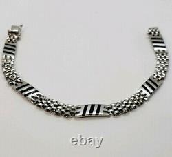 14K White Gold men's Bracelet with Black Enamel