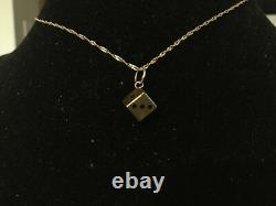 14K Yellow Gold 3D Lucky Dice Charm Pendant Necklace Black Enamel Dots # 212