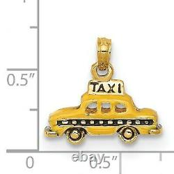 14K Yellow Gold 3D Yellow And Black Taxi Charm Pendant 13 mm x 18 mm 3.30gr