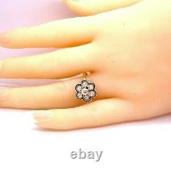 14K Yellow Gold Black Enamel Diamond Antique Cluster Statement Ring 1/10 Carats