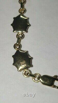 14K Yellow Gold Black Red Enamel Ladybug Link Bracelet 7 GGB/with earings/