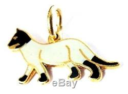 14K Yellow Gold + Black & White Enamel Kitty CAT Charm Fine Feline w Cattitude