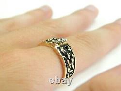 14KT Yellow Gold Vintage Three. 02CT Diamond Ring with Black Enamel, Size 6.5