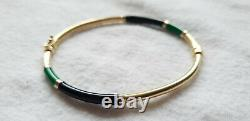 14ct YELLOW GOLD WITH GREEN AND BLACK ENAMEL BANGLE 6.5 grams