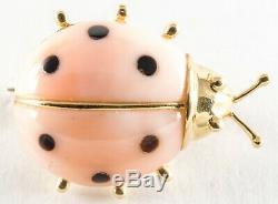 14k Gold Enamel Lady Bug Brooch Pink & Black