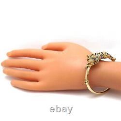 14k Gold Italy 3D Black Enamel Tiger Emerald Eyes Bangle Bracelet 13 grams 7in