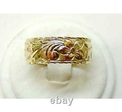 14k Gold Personalized 8mm Hawaiian Ring Black Enamel