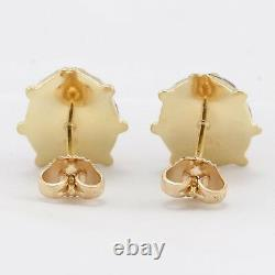 14k Solid Yellow Gold Red & Black Enamel Ladybug Earrings 2.7 grams