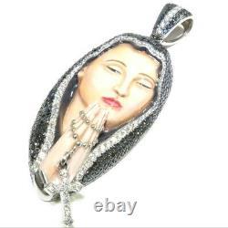14k White Gold 9.00ct Round Cut White / Black Diamond Saint Mary Enamel Pendant