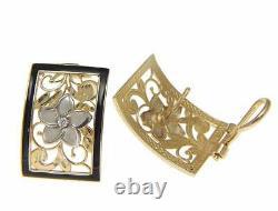 14k White Gold Hawaiian Plumeria Yellow Gold Black Enamel Border Omega Earrings