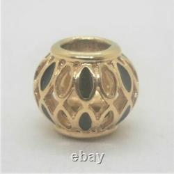 14k Y Gold Pandora Royal Victorian Black Enamel Bead Charm 750814EN6 Retired