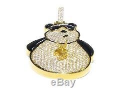 14k Yellow Gold 4.70ct Round Cut White Diamond Black Enamel Fancy Bear Pendant