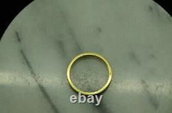 14k Yellow Gold Black Enamel Eternity Ring Band Size 7.5 #d3160