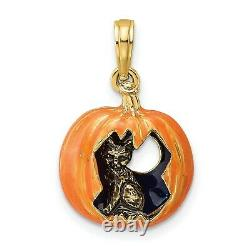 14k Yellow Gold Carved Orange Pumpkin Charm Pendant with Cat and Moon Inside