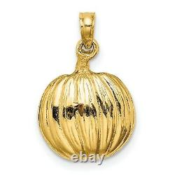14k Yellow Gold Carved Pumpkin Charm Pendant with Cat and Moon Inside