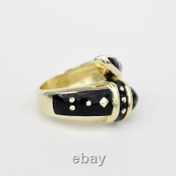 14k Yellow Gold Estate Black Enamel Cabochon Peridot Ring Size 6.25