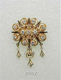 14k Yellow Gold Vintage Black Enamel Diamond Pin Brooch Rare Find Lb2765