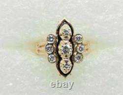 14k Yellow Gold Vintage Diamond Black Enamel Ring Size 7.5 Lb2923