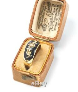 15ct Gold Edwardian Black Enamel Pearl Momento Mori Mourning Ring Boxed