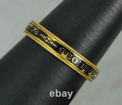 1790 Georgian 22ct Gold and Black Enamel Mourning Eternity Band George Prescott