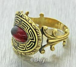 1820s Antique Georgian Estate 14k Yellow Gold Red Stone Black Enamel Ring Z9