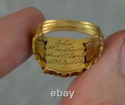 1832 William 18ct Gold & Black Enamel Mourning Panel Ring d0420