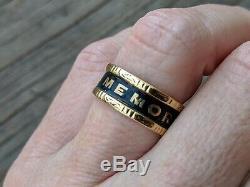 1861 In Memory Of, Mourning Band Ring, 18K Gold, Black Enamel