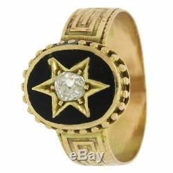 1870s Antique Victorian 14K Gold Jewish Star of David Black Enamel Diamond Ring