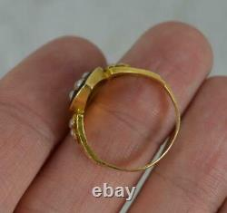 1878 18ct Gold Black Enamel and Seed Pearl In Memory Of Mourning Ring