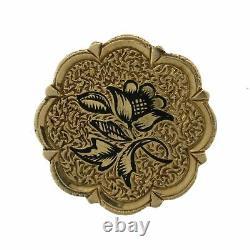 1880s Antique Victorian 14k Solid Yellow Gold Black Enamel Flower Earrings
