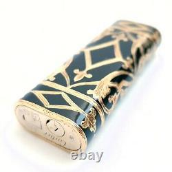 18K Solid gold Cartier lighter, hand carved, black enamel