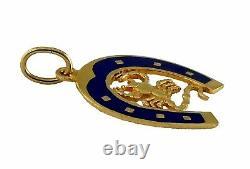 18K Yellow Gold Blue Enamel Lucky Horseshoe Scorpio Pendant Charm Horse Shoe