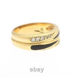 18K Yellow Gold Diamond Black Enamel Vintage Band Ring 7.25 Signed MV German