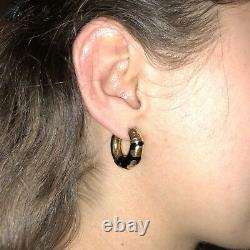 18K Yellow Gold Hoop Textured Animal Giraffe Spots Black Enamel Earrings Italy
