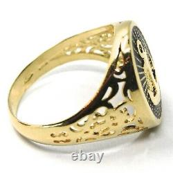 18k Yellow Gold Band Man Ring, Nautical Anchor, Finely Worked, Black Enamel